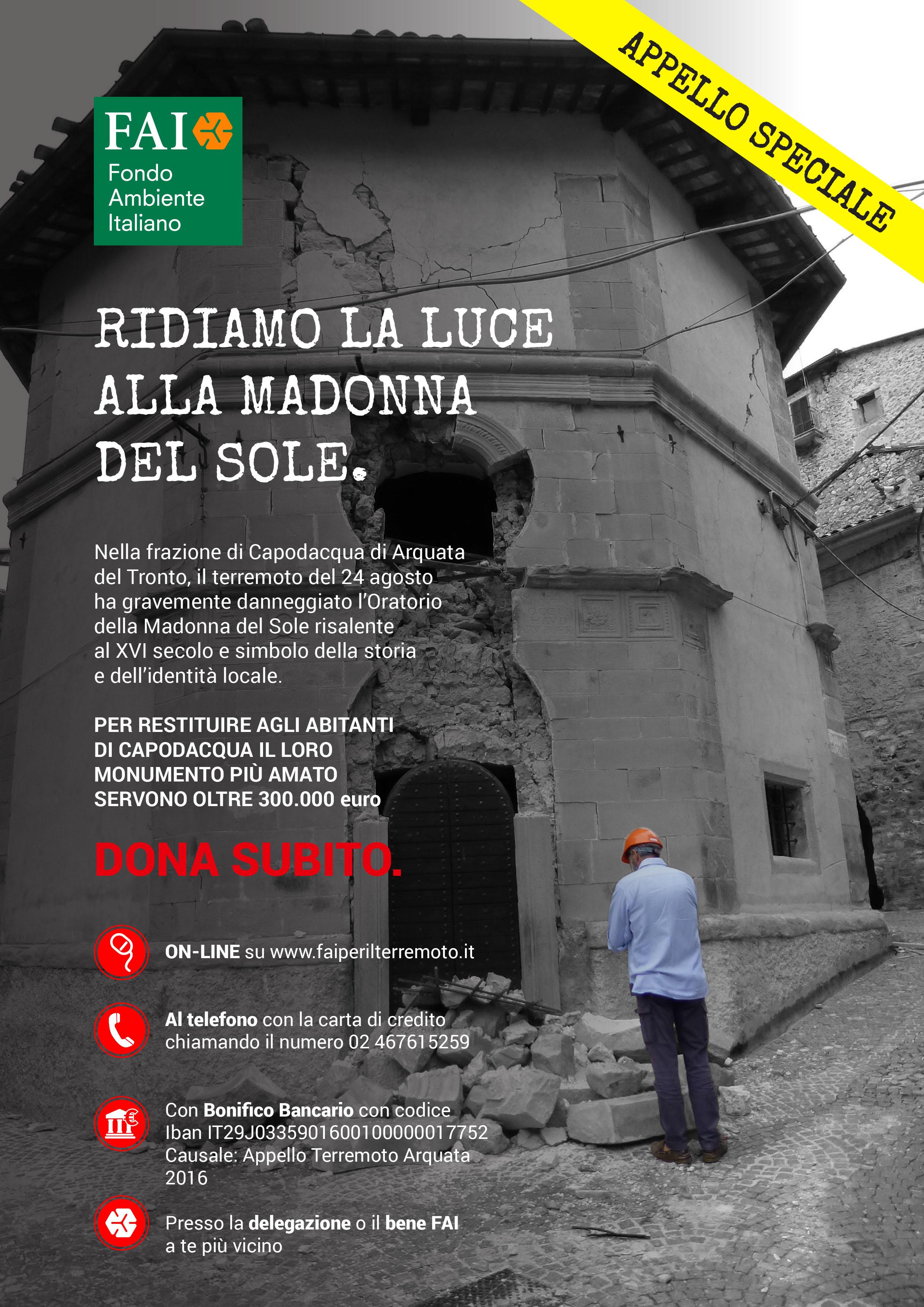 Raccolta fondi a Favore dei comuni terremotati del centro Italia