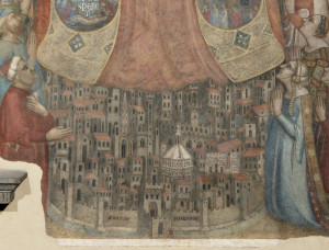 3.Particolare della città, affresco della Madonna della Misericordia, attribuito a Bernardo Daddi e bottega, 1342 dopo il restauro