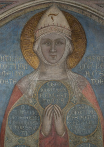 5.Particolare del volto della Madonna, affresco della Madonna della Misericordia, attribuito a Bernardo Daddi e bottega, 1342 dopo il restauro