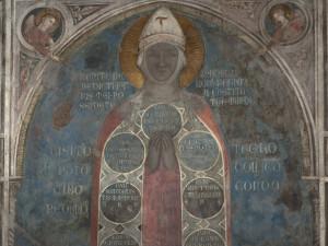 Particolare del volto della Madonna, affresco della Madonna della Misericordia, attribuito a Bernardo Daddi e bottega, 1342 prima del restauro