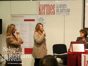 La vincitrice del Primo Premio Friends of Florence -Salone del Restauro 2012, Lidia Cinelli, la contessa Brandolini D'Adda e la Soprintendente Cristina Acidini