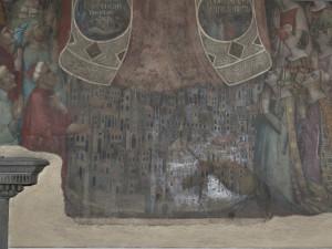 Particolare della città, affresco della Madonna della Misericordia, attribuito a Bernardo Daddi e bottega, 1342 prima del restauro